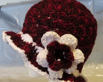 Shell Stitch Hat w/flower Hand Crochet
