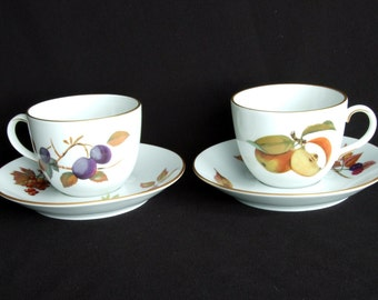Two Royal Worcester Evesham Gold Rim Cups and Saucers.  Mint