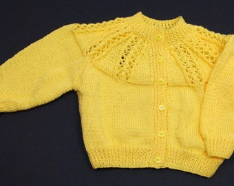 Cute Yellow Yoke Pattern Cardigan