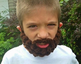 Crochet beard in brown or black.