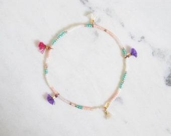 Rose Garden tiny tassel, delicate beaded friendship bracelet