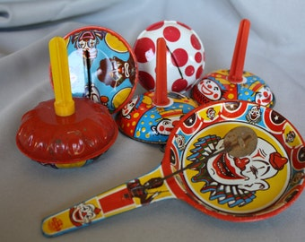 Vintage Clown Tin Noise Makers **LOT of 6**