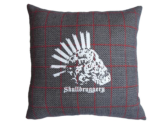 Plaid Skull 14 Cushion. Drug Skull on RedBlack and