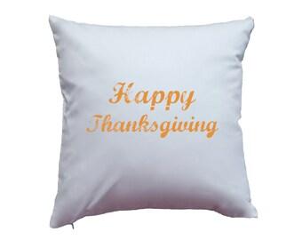 "Cute Simple ""Happy Thanksgiving"" Orange, Brown, or Black Print Classy Design Thanksgiving High Quality Hand Printed Pillowcase Home Decor"