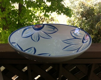 Himark Ceramic Pasta Bowl Hand-Painted - Blue and Red Floral