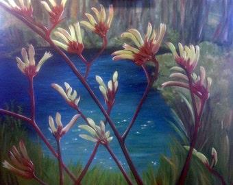 Kangaroo Paw, Australian flower, botanical, oil painting, floral decor