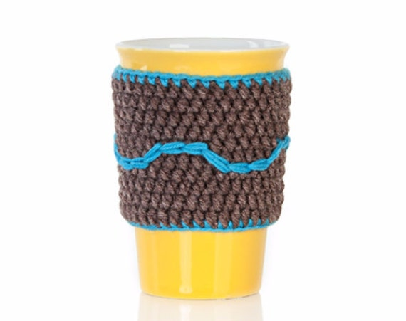 Christmas gift, Crochet cup cozy, coffee cup cozy, mug cozy, cup cozy, coffee cup sleeve, brown, turquoise, gift ideas