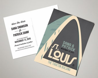 Gateway Arch Wedding Personalized Art Save the Date Postcards (200 QTY)