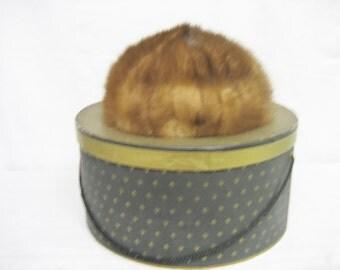 Vintage Betmar Golden Brown Fur Hat with Hat Box