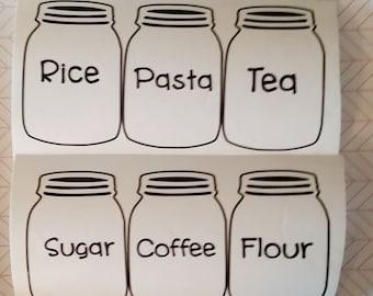Mason Jar Pantry labels, Mason Jar Kitchen Tags, Sugar Labels, Flour Label, Vinyl Labels, Pantry Organization, Label Stickers, Flour Decal