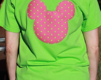 Lime Green and Pink Polka Dot Shirt! Size Large