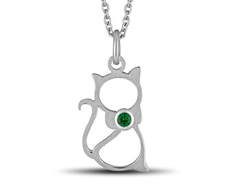 Personalized Cat Necklace, Stainless Steel Cat Pendant w/Swarovski Birthstone, Animal Pendant Necklace, Cat Charm Necklace, Birthstone Cat