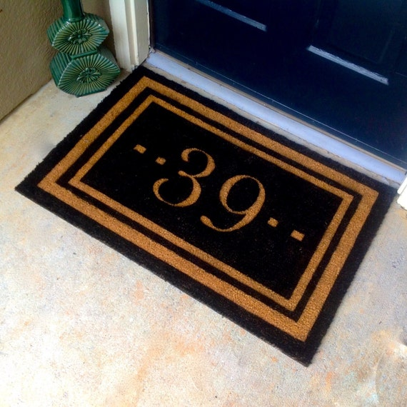 Door House Numbers Coir Doormat Outdoor Front Door Mats
