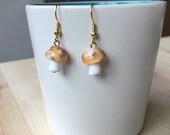 Glass mushroom earrings