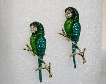 Pair of parrots; vintage enamel brooches; rhinestone and enamel parrot brooches; vintage coat pin