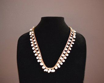 Vintage double chain white beaded necklace,  summer necklace, white jewelry,  lightweight jewelry