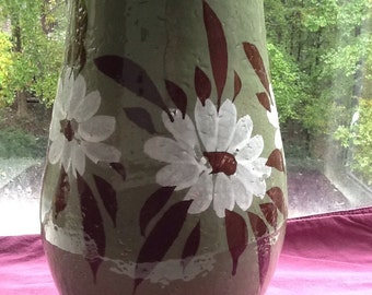 Beautiful Rustic Handmade Pottery Pitcher with Daisies-Gorgeous Teal Color