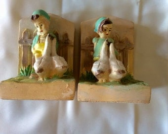 Final Sale! Vintage CHALKWARE BOOKENDS --  Boy and Girl With Geese
