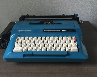 Vintage Smith Corona Typewriter Sterling Automatic 12 Blue teal, Smith and Corona Electric Typewriter