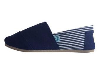 Blue espadrilles white stripes handmade traditional