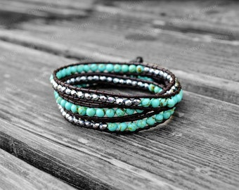 Turquoise Bracelet Leather Turquoise Wrap Bracelet Women Jewelry Leather Wrap Bracelet 4mm Beaded Bracelet Girlfriend Gift