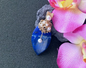 Lapis Pendant, Gold Filled Wire Wrapped Large Natural Lapis Marquise Pendant