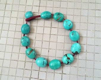 Vintage Genuine Turquoise Necklace, Knotted Natural Blue Green Chinese Turquoise Pebble Bead Necklace
