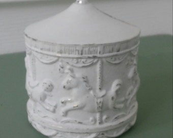 A Vintage Silver Plate Carousel First Baby Coin Bank, Up-Cycled In Cotton White