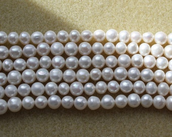 A Grade Natural Freshwater Cultured Potato Pearls 6.4-7.5mm in Natural/Light Cream