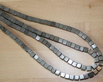 Pyrite  6mm Cube Beads - Full Strand