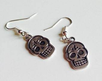 Sugar Skull   Candy Skull   Day Of The Dead   Halloween   Emo   Gothic   Earrings
