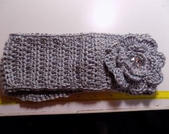 Grey Crocheted Earwarmer