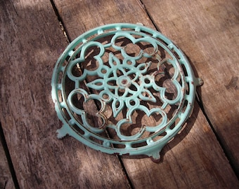 Vintage French Trivet.   Old enamelled cast iron trivet. Turquoise French Trivet.