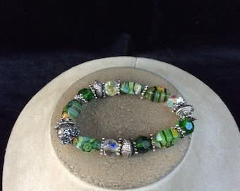 Vintage Multi Colored Glass Floral Beaded Bracelet