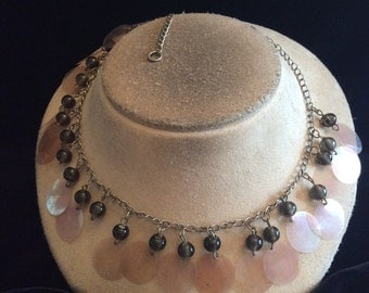 Vintage Gray-Clear Beaded Dangling Disc Necklace