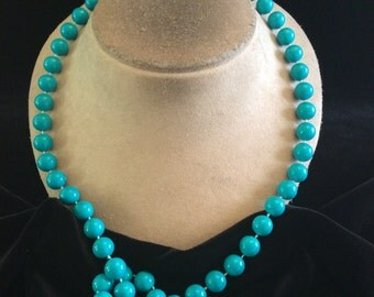 Vintage Long Blue Beaded Necklace
