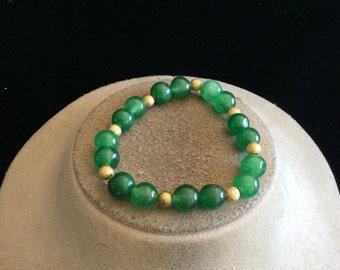 Vintage Green Glass & Goldtone Beaded Bracelet