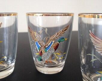Vintage 1950s flying duck shot glasses set of 4