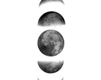 2 Moon Phases Temporary Tattoo, various sizes available