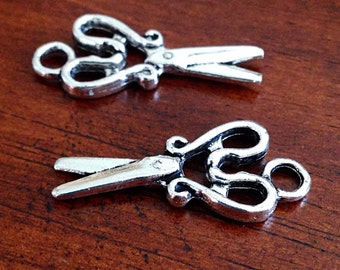 10 Scissors Charms, Antique Silver Charms, Silver Scissors, Sewings Charms, Scissor Charms, Findings, Jewelry and Craft Supplies