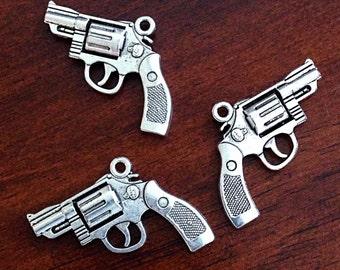 5 Gun Charms, Antique Silver Charm, 3D Gun Charm, Pistol Charm, Double Sided Gun, Hand Gun Charm, Jewelry and Craft Supplies, Findings