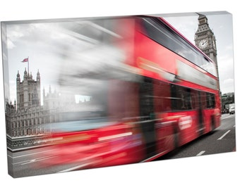 FO2372 Print On Canvas Red Bus crossing Westminster Bridge BIG BEN LONDON