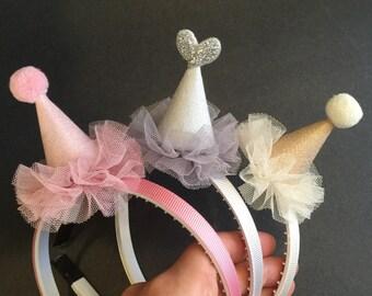 Hat Headband,Party Headband,girl birthday party,birthday girl headband,glitter party cone,glitter hat,cake smash,birthday cone,mini cone hat