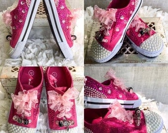 Girls' Hot Pink Raspberry Princess Sneakers | Pink Shoe Laces | Size Youth 10.5 - 6 | Pearls, Rhinestones, Ribbons, Beads |