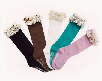 Girls boot socks, solid boot socks, girls leg warmers, lace boot socks