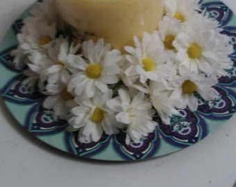 Floral Candle Centerpiece - Blue - Yellow - Daisy Trim