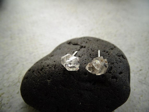 Double Terminated Herkimer Diamond Cluster Stud Earrings w/Sterling Silver,Healing Crystal Jewelry,Bohemian,Hippie,ハーキマーダイアモンド,ピアス,天然石ジュエリー