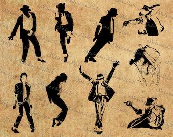 Digital SVG PNG Michael Jackson Jacko inspired, rap, pop music, silhouette, vector, clipart, instant download