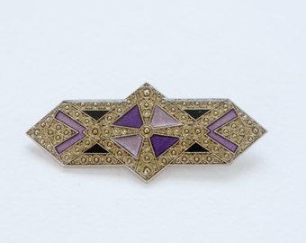 Silver toned Geometrical Brooch,  Vintage Brooch pin, enamel vintage brooch,  Art Nouveau brooch