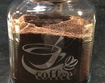 Coffee Canister ~ Etched Coffee Canister ~ Glass Jar ~ Glass Canister ~ Cracker Jar ~ Coffee Jar ~ Coffee Container ~ Kitchen Canister